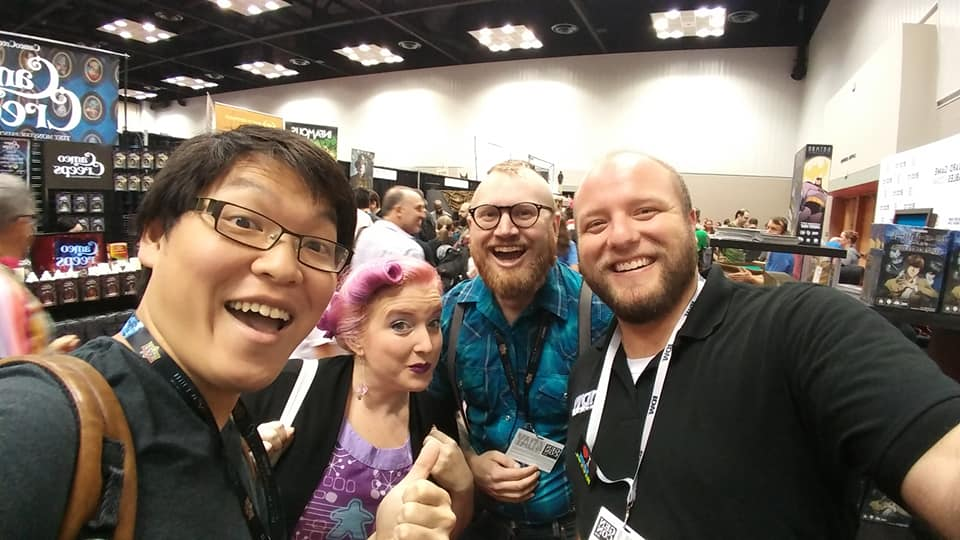 Jonathan Ying ,  Elisa Teague ,  Jackson Wood , and  Ross Thompson  @ GenCon 2018