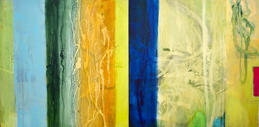 """Into Spring  diptych, mixed media on canvas, 48""""x96"""", 2018"""