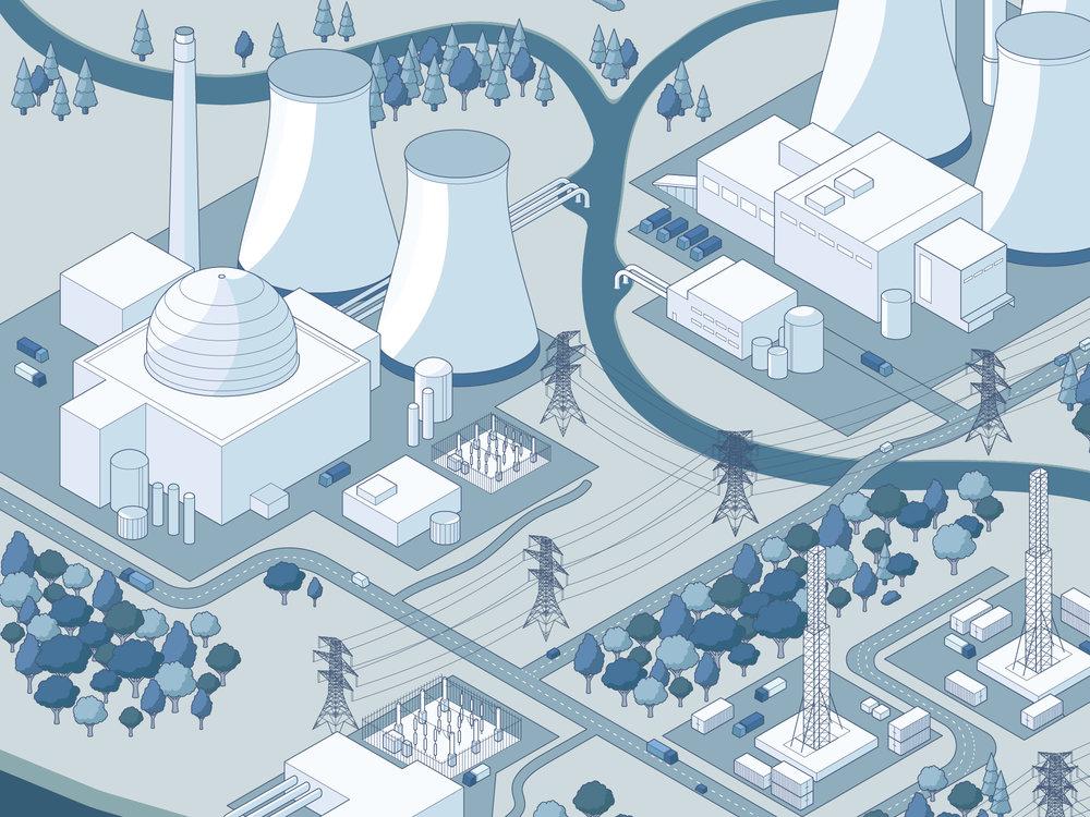 The UK Energy Landscape power station city isometric illustration