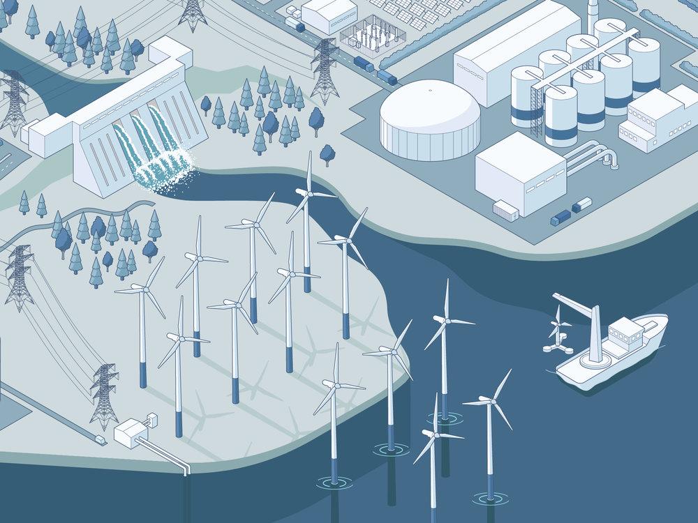 The UK Energy Landscape city power isometric illustration