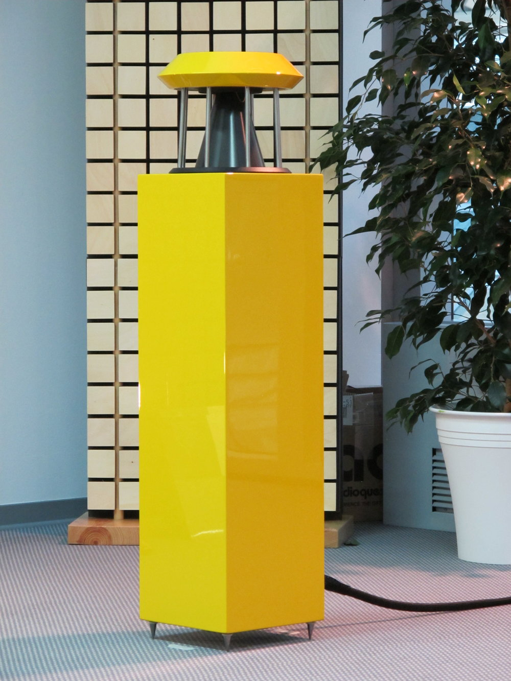 Unlimited Ultimate loudspeaker in yellow polyester  | Munich Hi-Fi Show 2015, Germany