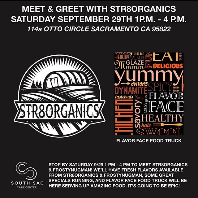 Make sure to stop by @sscc_mmj tomorrow between 1pm-4pm for a meet and greet with @str8organics SSCC is running specials on all their products and other specials! Also @flavorface will be there serving food!Hope everyone enjoys their weekend #SSCC #str8organics