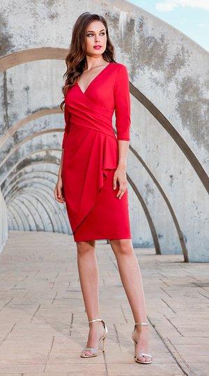247e7f4ba8 Vestido rojo cruzado con manga francesa