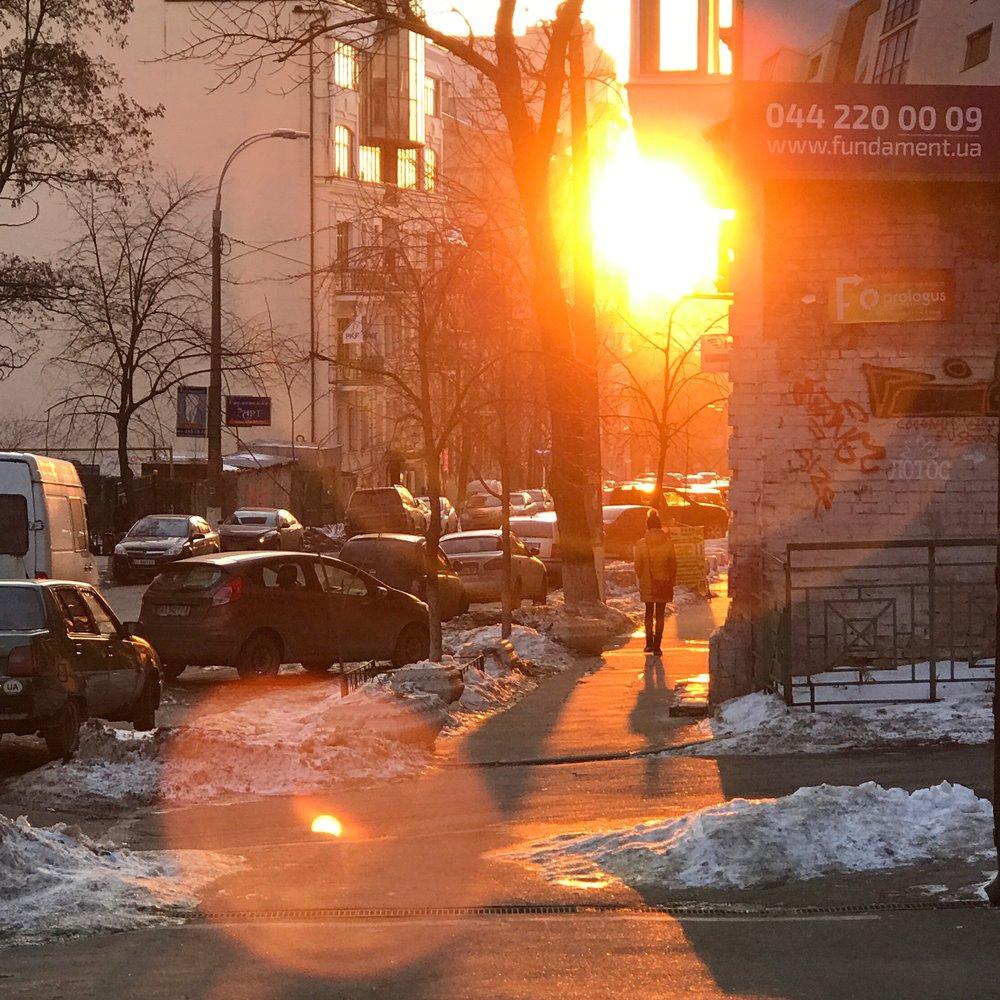 Beautiful sunset in Kyiv, Ukraine