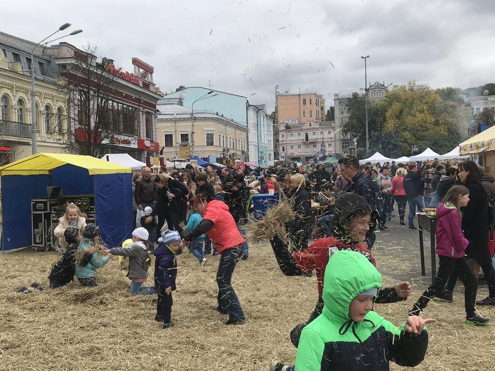 People on the street in Kyiv, Ukraine