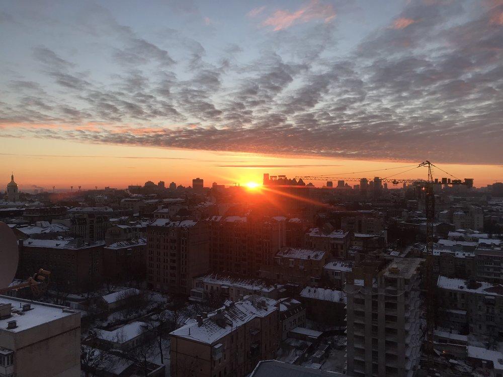 Another beautiful sunset in Kyiv, Ukraine