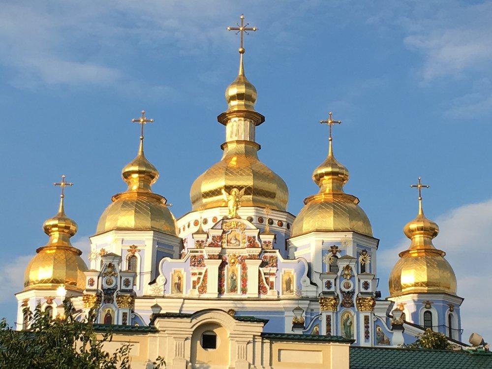Shiny domes of Ukrainian church