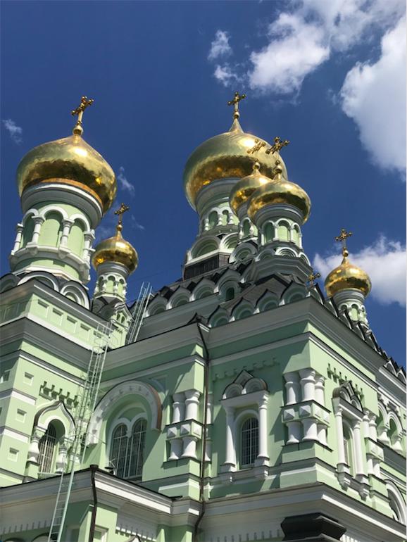 Shiny domes of church in Kyiv, Ukraine