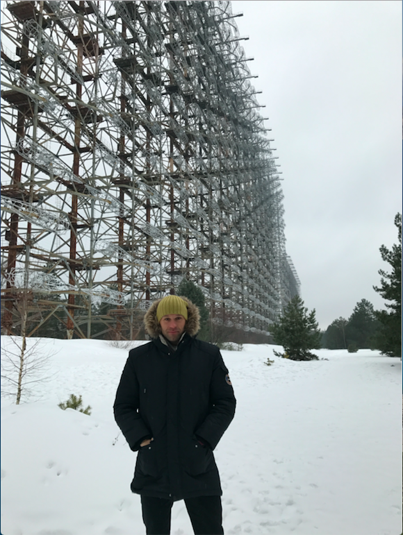 Peter Santenello near Duga Radar in Chernobyl, Ukraine