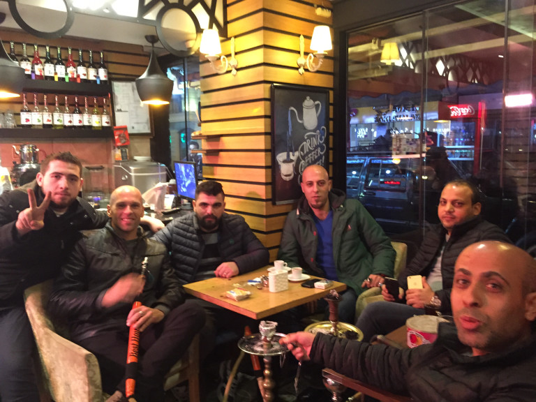 Syrian refugees and American in Istanbul, Turkey