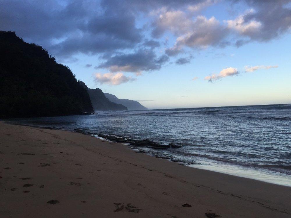 A sandy beach and waves