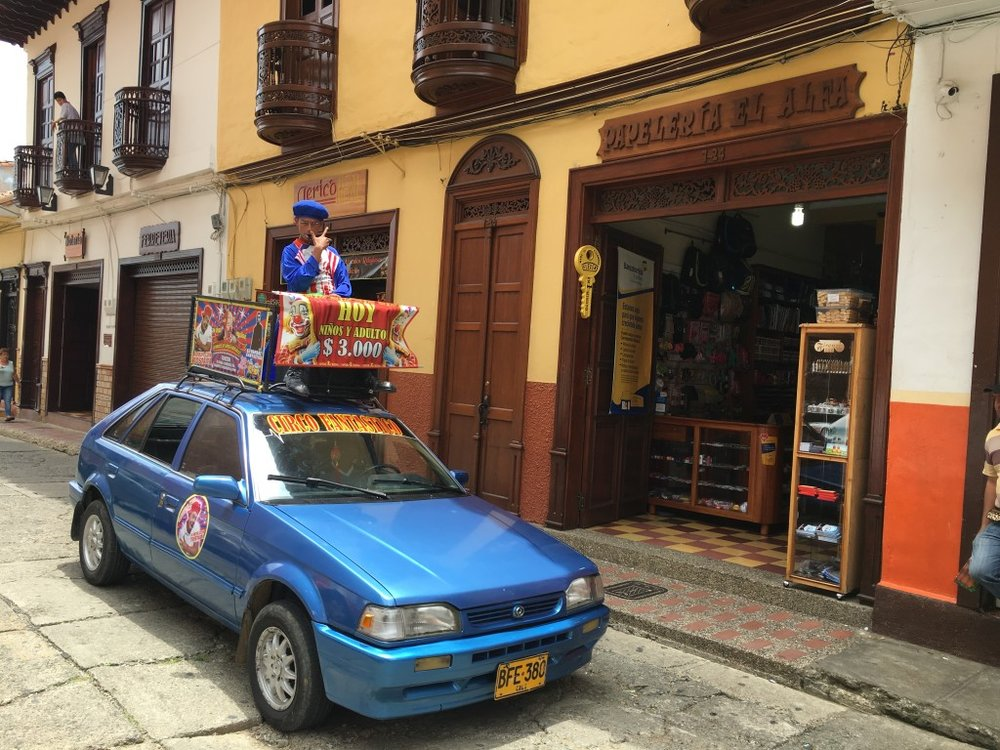 Car and buildings in Colombia