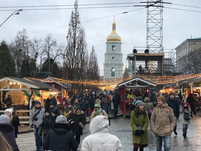 Crowded street in Kyiv, Ukraine