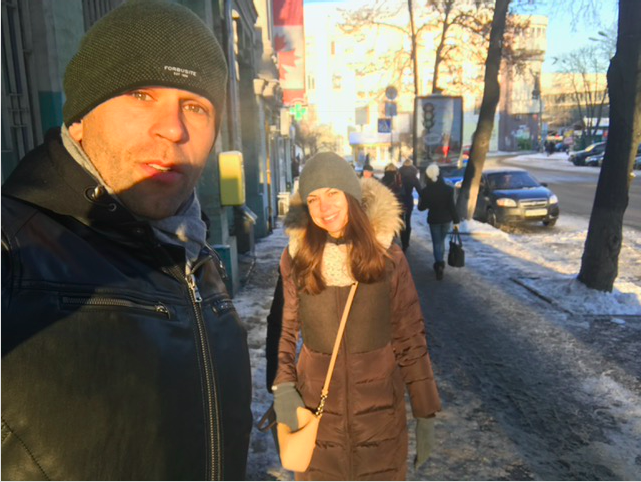 Morning meeting. Peter Santenello and young woman in Kyiv, Ukraine