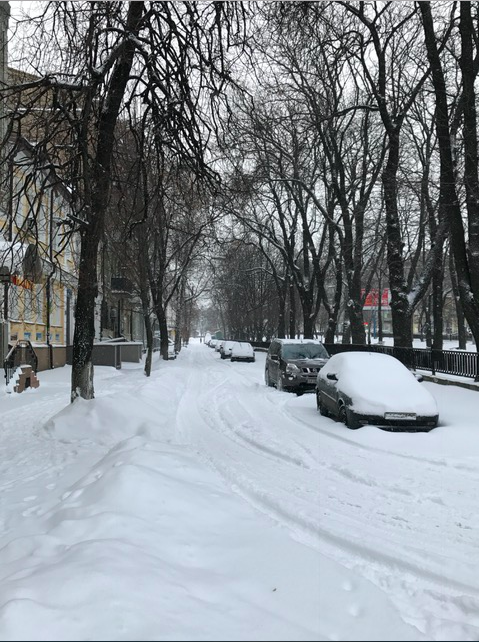 Streets after snowstorm in Kyiv, Ukraine