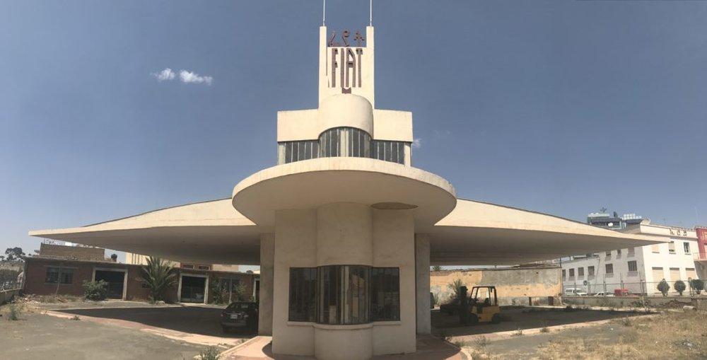 A vacant gas station in Asmara, Eritrea