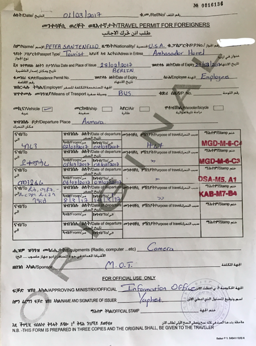 Permit needed for leaving Asmara, Eritrea