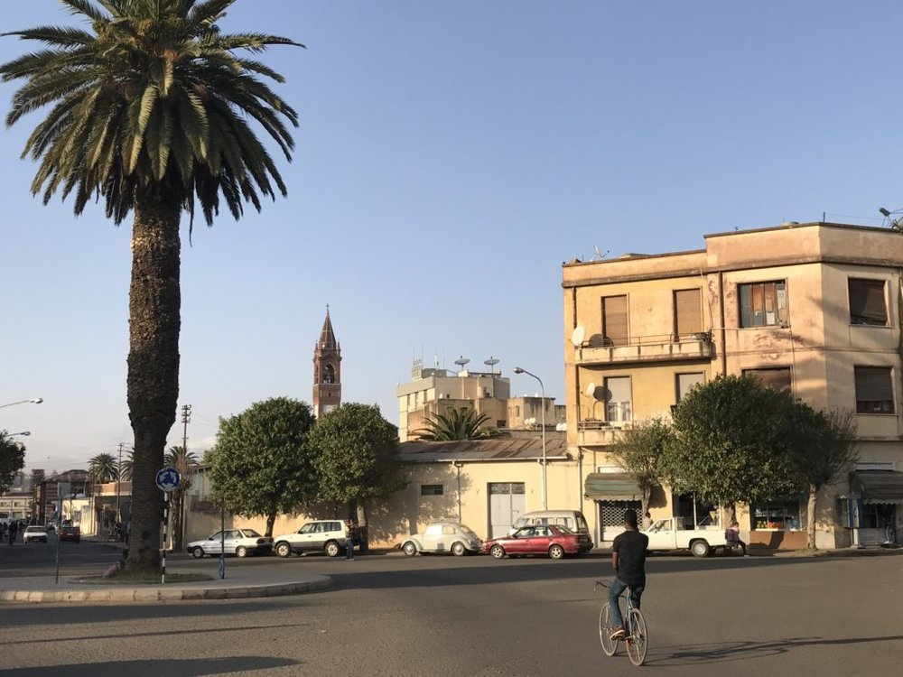 Calm street in Asmara, Eritrea