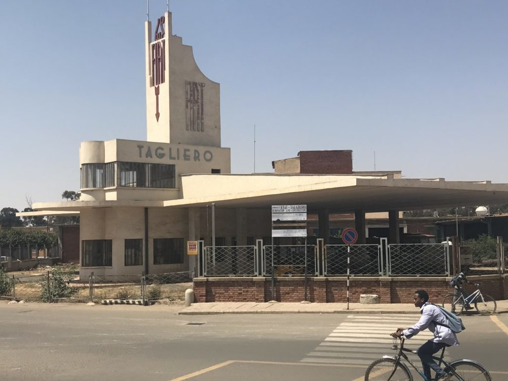 A vacant gas station in Asmara