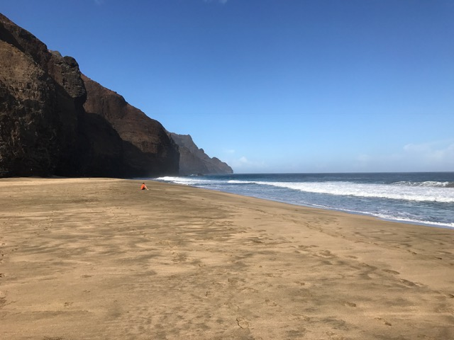 Expansive beach and the ocean in Kauai
