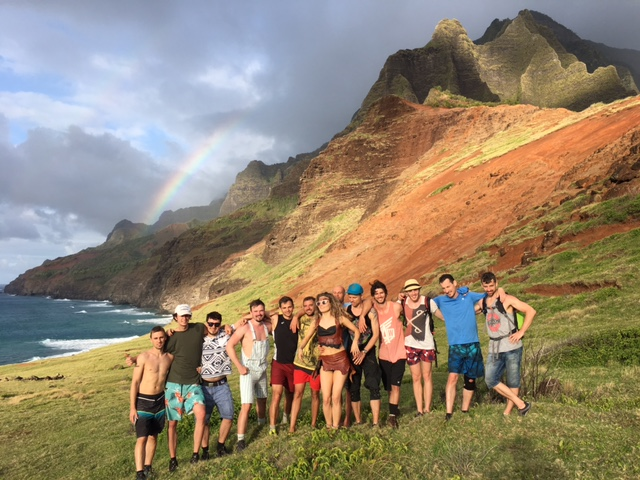 A group of wild tourists in Kauai