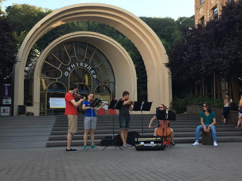 Kyiv funicular and street musicians in Kyiv, Ukraine