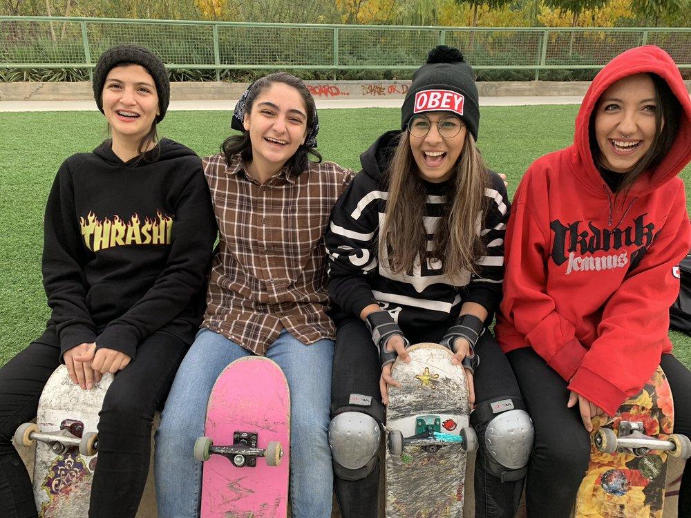 Women skateboard scene in Tehran