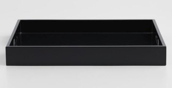 This   simple black tray   by World Market would look at home in any number of settings.
