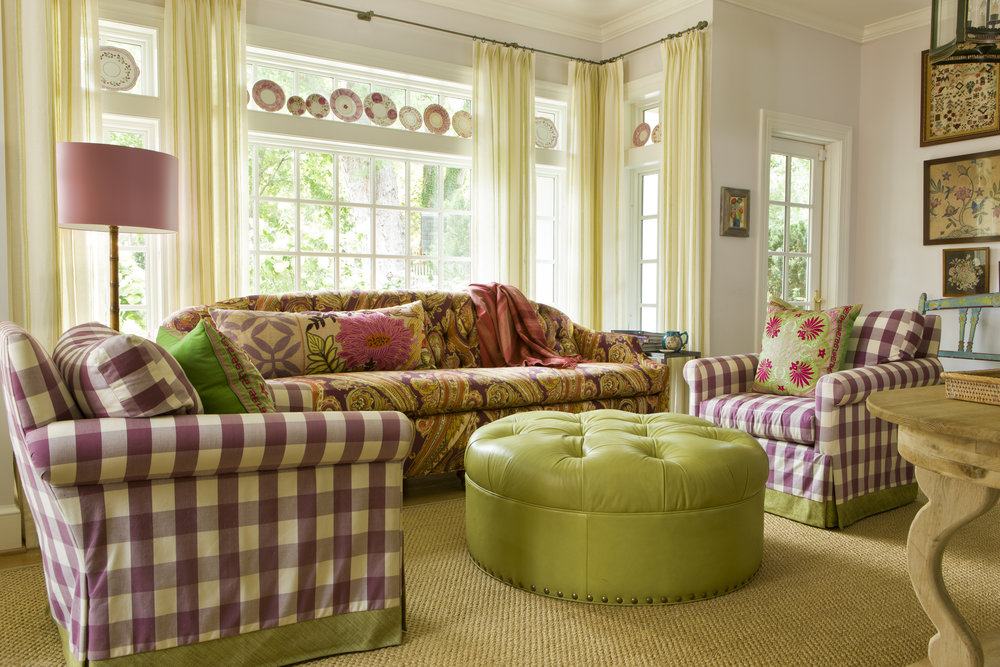 Purple gingham chairs add a a punch in this family's sitting room.