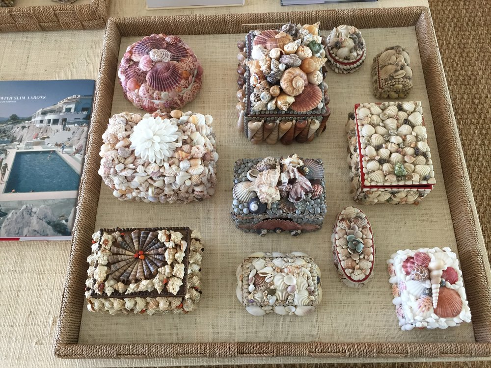 I spent hours searching for these shell encrusted boxes. As a child I remember so many from my visits to the beach. It was so much fun finding such unique specimens and surprising this client created so much anticipation for me.