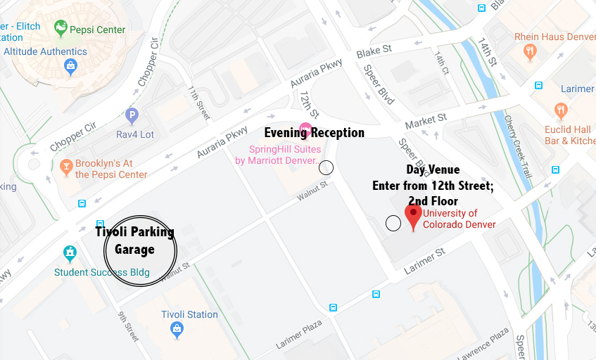 Parking is available for $6.50 both day and night at the Tivoli Garage, located at 9th Street and Auraria Parkway, see picture below. There is also metered street parking available around the buildings.