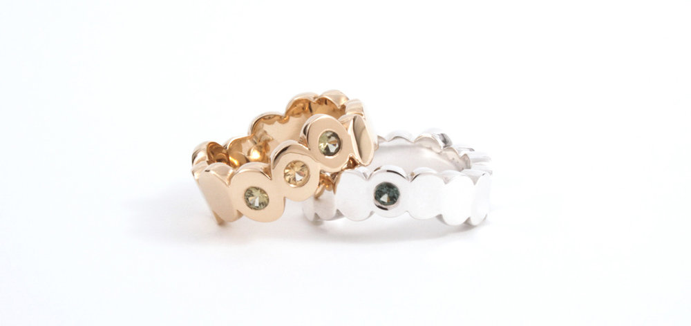 Doris Jurzak, Radiate rings I and II, 2014, 14K yellow gold, 925 silver, sapphires