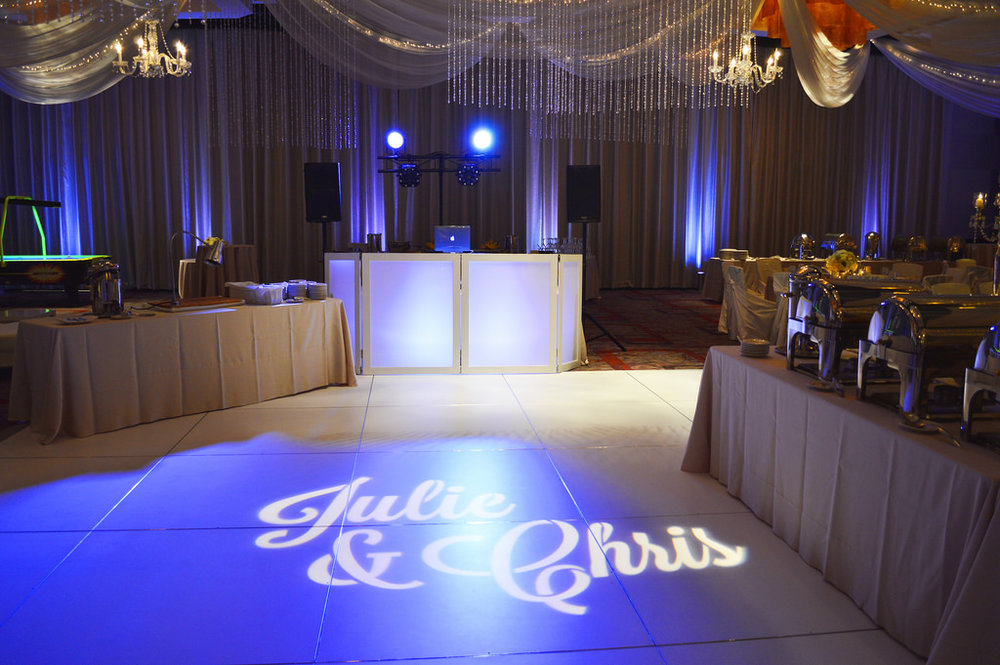 GOBO LIGHTING -- We can customize any logo, name or theme to project on the wall or dance floor of your event. Add a personalized touch with monogram lighting.