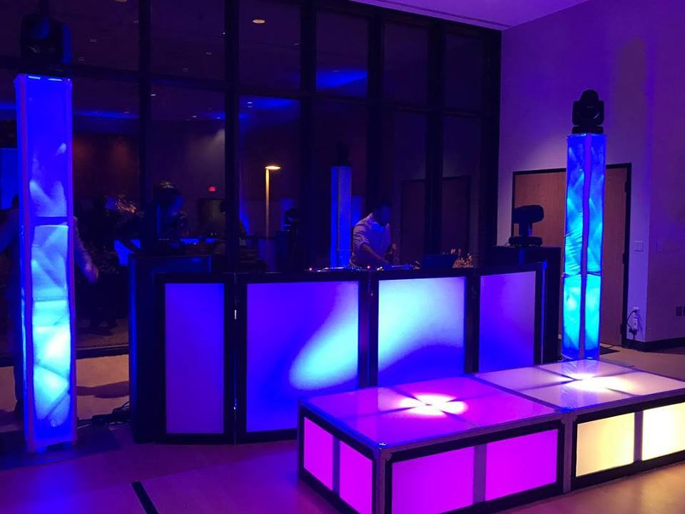 LED STAGING -- Our new LED Stages. They light up to the pulse of the music. We can change colors and effects for any show. We can turn any event space into a personalized, fun atmosphere.