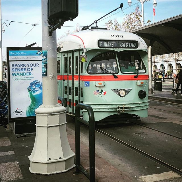 Hipster public transportation. — #train #retro #vintage #lightrail #hipster #sf #ferrybuilding #embarcadero #sanfrancisco #tourist
