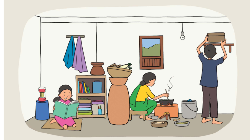 An illustration showing a girl reading to her family in a typical Nepali home.