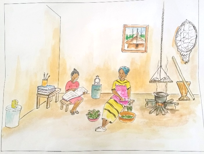 An illustration showing a child reading to her family in a typical Liberian household.