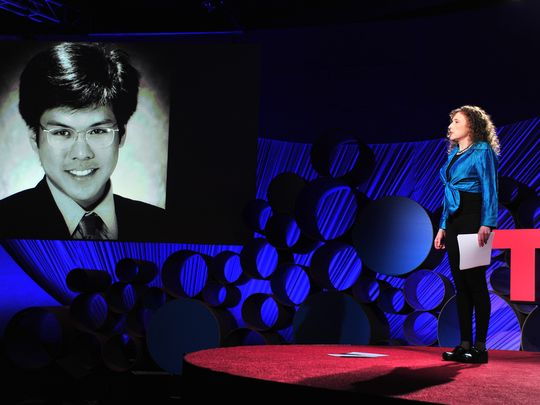 Physician Pamela Wible speaks at TEDMED 2015.  Photo credit: Jerod Harris/provided photo