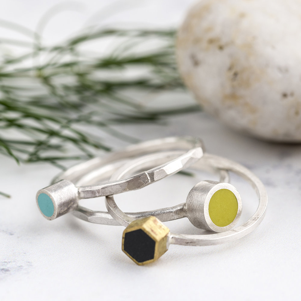Stack of Colour Design's polymer clay & silver rings