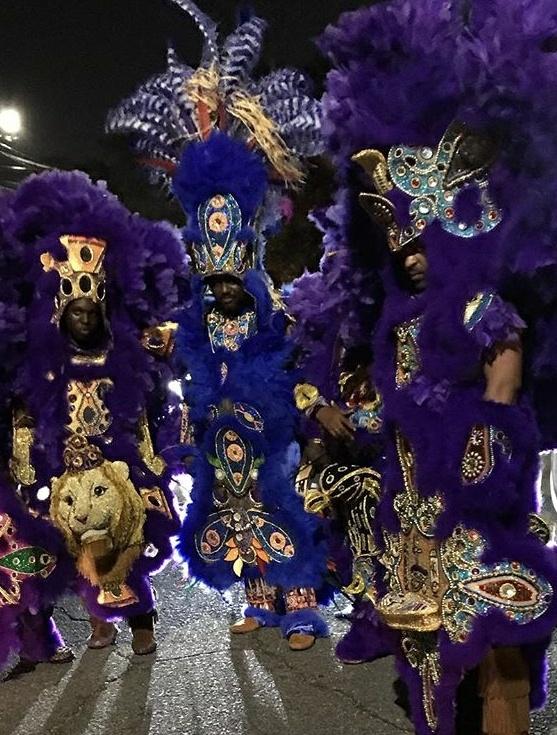 Lil Chief Keelian Boyd Jr, Big Chief Keelian Boyd Sr, Spy Boy Orlando Barber Mardi Gras 2018.jpg