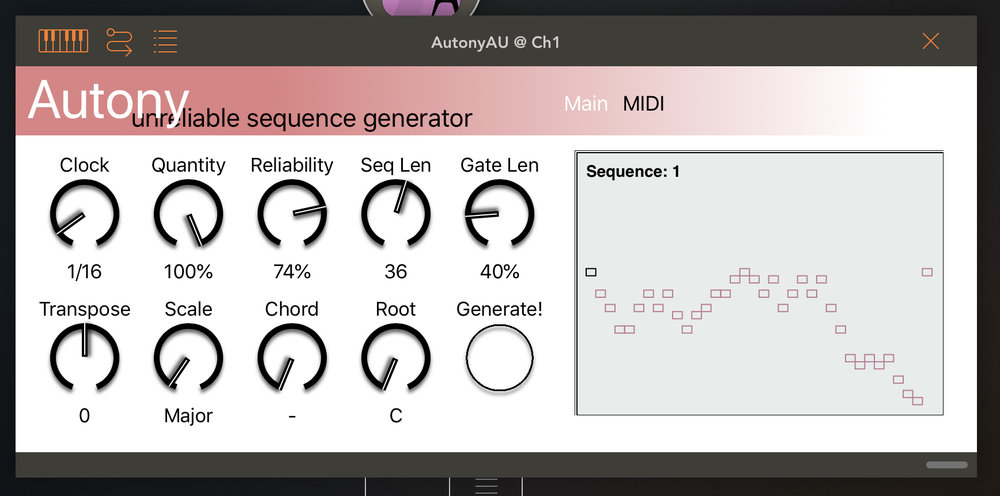 Autony - An unreliable sequence generator for iOS. A highly configurable midi controlable sequence generator with a built in note quantiser