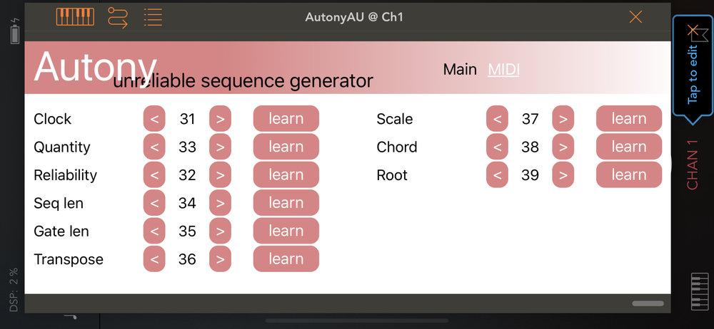 Midi Control - Automate or Modulate all the controls via midi for ever evolving sequences