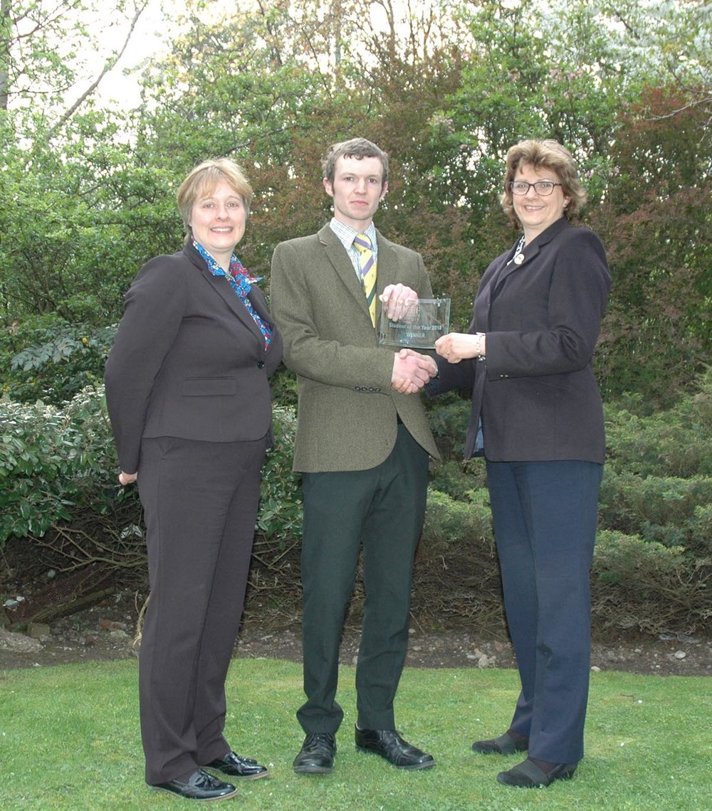 FE College Challenge winner, Charlie Smith with Sally Horrell and course tutor, Linda Lloyd