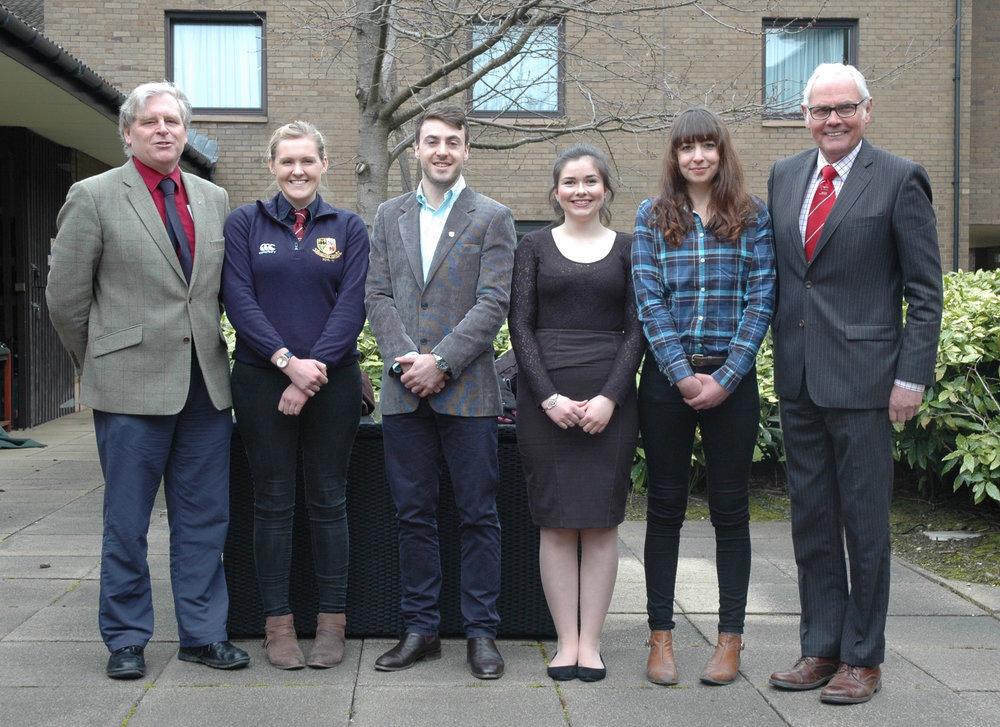 QMS's Stuart Ashworth with Katie Landers, Chris Freeman, Orla Kelly, Elizabeth Johnson and Society director, Geoff Riby