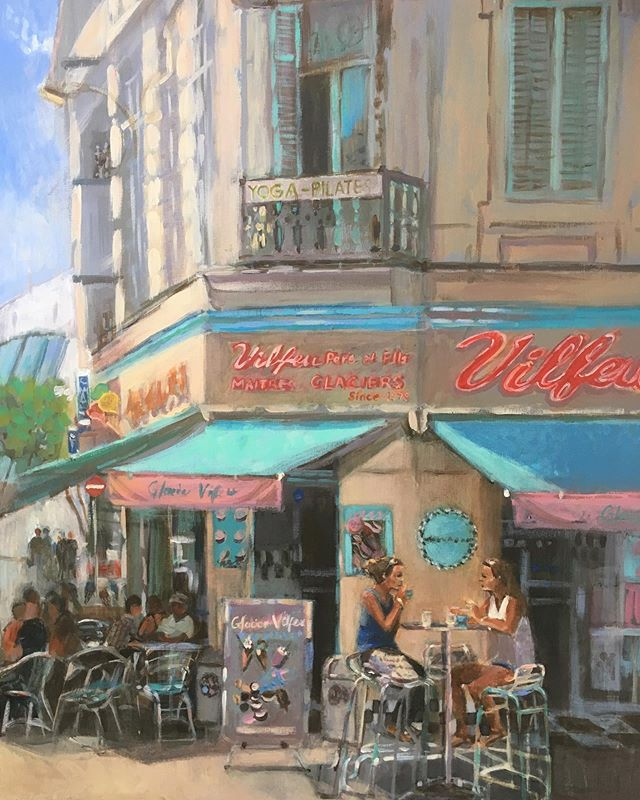 """""""Glacier Vilfeu,  Cannes."""" . . Whilst the Cannes Film Festival is on and it's a sunny day here in Cheltenham I thought I'd post this painting I've been working on. . . My husband and I came across Glacier Vilfeu whilst wandering around Cannes. The ice cream parlour is a couple of minutes walk from Palais des Festivals, just behind La Croisette, and its colourful corner frontage makes it quite easy to spot. It has a retro feel and we loved their ice-cream. ( as did our son Milo! ) . #glaciervilfeu #icecream #cannesfilmfestival #cannes #france"""
