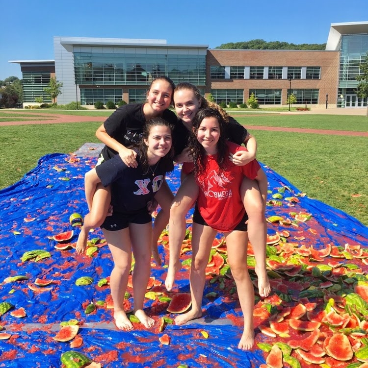 Watermelon Bash - Sisters participate in the yearly event hosted by Lambda Chi Alpha in support of their philanthropy, Grier Strong. Events include a relay race, a hammer smash, a catapult, and a lot of broken watermelons!