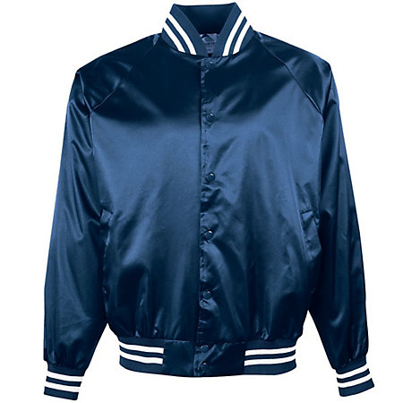 Satin Bomber - Outer shell of 100% nylon satin * Lined with 100% polyester brushed tricot * Woven label * Snap front * Raglan sleeves for maximum mobility * Striped rib-knit collar cuffs and bottom band * Front pockets * Water-resistantAvailable inAdult (XS-3XL)