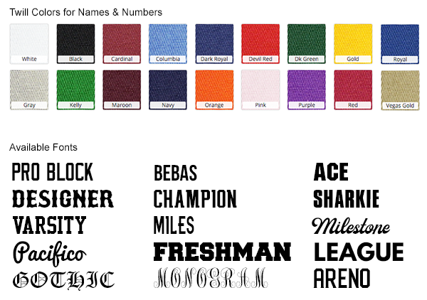 3. Create Your Design - Browse all of our different fonts, twill colors and patch types so you're prepared to submit your order request using our interactive order form.