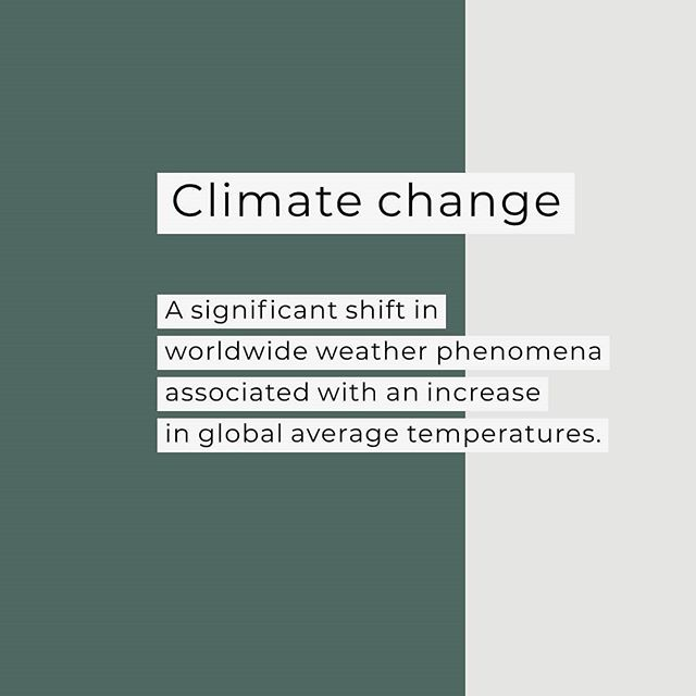 """This is my favorite of the many definitions out there for """"climate change"""", partly because it doesn't include the terms """"climate"""" and """"change"""" in the definition, and emphasizes the global - not local - aspect of climate change. 🌍🌎🌏 • Climate change: A significant shift in worldwide weather phenomena associated with an increase in global average temperatures. • In order to have a meaningful conversation, it's important to define your terms. Terms like """"climate change"""" and """"global warming"""" get so used that their definitions can become half forgotten. Over the next weeks, I'll post a series of terms and definitions on the """"In 100 Words"""" blog. Thought we'd start with the basics: """"climate change"""". • Post to come; link in bio. 💥"""