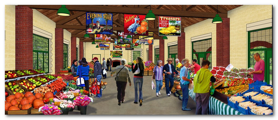 Rendering of restored Brady Lodge interior with proposed farmers' market (Oakland County EDCA)